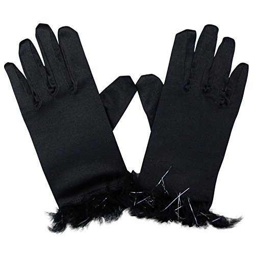 (So Sydney Kids Short Dress-Up Princess Costume Gloves, Soft Satin Shimmer Fabric)