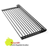 Roll Up Dish Drying Rack - Over the Sink Multipurpose XL Silicone Stainless Steel Dishes Drainer, Drain Board Colander Mat and Dry Dishes Organizer, for Pans Bottles Bowls, Foldable Storage