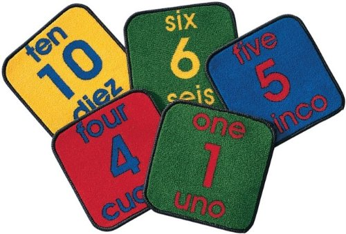 Spanish Carpet (Carpets For Kids 1620 Bilingual Number Squares - Set of 10)