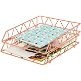 PAG Set of 2 Office Supplies Metal Stackable File Document Letter Tray Organizer for Desk, Rose Gold