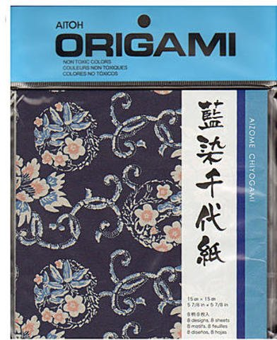 Aitoh Origami Paper (6 In. x 6 In.) - Aizome Chiyogami (8 Sheets) 1 pcs sku# 1845192MA by Aitoh