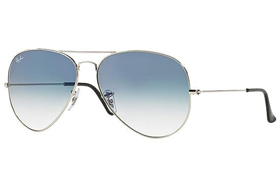a28e96fa2e Amazon.com  Ray-Ban RB3025 Aviator Gradient Unisex Sunglasses (Silver Metal  Frame Light Blue Gradient Lens 003 3F