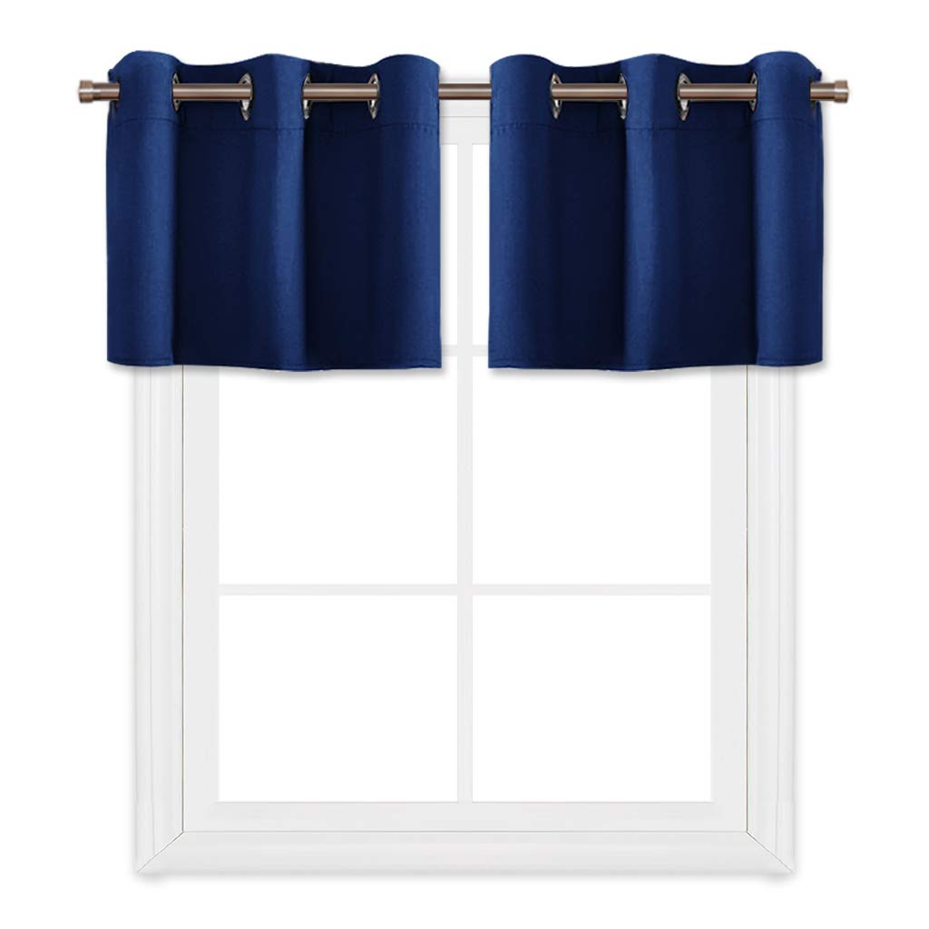 PONY DANCE Navy Blue Window Curtain Tier Valances Ring Top Thermal Insulated Blackout Tiers for Small Windows in Kitchen & Bathroom, 42'' W x 18'' L, Set of 2