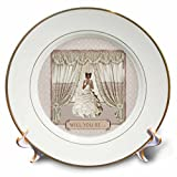 3dRose Beverly Turner Wedding Bridal Party Design - Bride in Wedding Gown, Drapes in Window, Will you be, Cream and Rose - 8 inch Porcelain Plate (cp_282067_1)