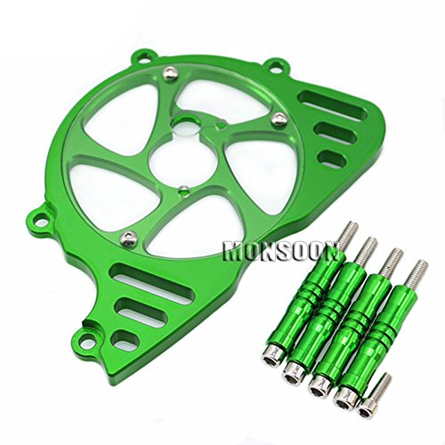 Green Motorcycle Aluminum Front Sprocket Chain Guard Cover Left Side Engine For KAWASAKI Z1000 2010-2016 2011 2012 2013 2014