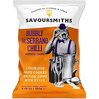 SAVOURSMITHS Hand Cooked Potato Chips, Bubbly & Serrano Chili, 5.29 Oz (6 Count), Gluten Free, Vegan, Non Gmo, All Natural, Luxurious British Style Chips with Style