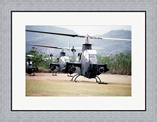 Cobra Helicopter Gunship (Three AH-1 Cobra gunship helicopters Framed Art Print Wall Picture, Flat Silver Frame, 26 x 20 inches)