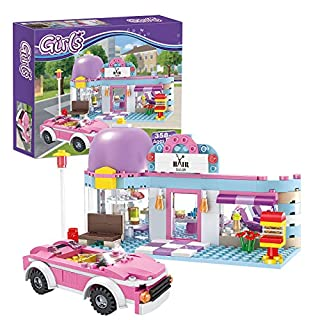 Girls Friends Hair Salon Building Blocks Toys 358 Pieces Shampoo Bed Swivel Chair Counter Pink Convertible Car Bricks Toys for Girls 6-12 Education Construction Play Set for Kids 4545