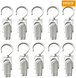 EvaGO 10 Pack Super Strong Plastic Swivel Hooks Laundry Clips with Hooks for Home Office Workshop Travel, 4.3 inch, White