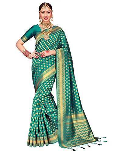 For Women Banarasi Art Silk Woven Saree l Indian Wedding Traditional Wear Sari and Blouse  Teal One Size (Kanchipuram Sarees)