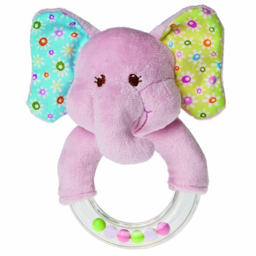 Pink Elephant Rattle - Mary Meyer Ring Baby Rattle, Ella Bella Elephant, 5-Inch