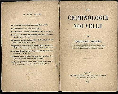 LA CRIMINOLOGIE NOUVELLE.