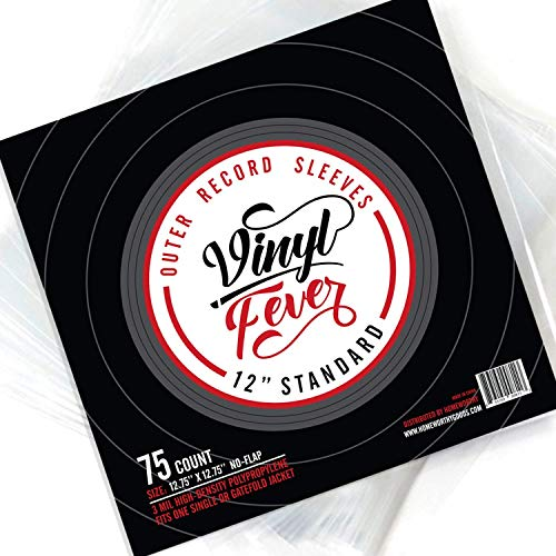 (75 Pack) Vinyl Fever High-Density 3 Mil Outer Record Sleeves for Storage of Standard 12