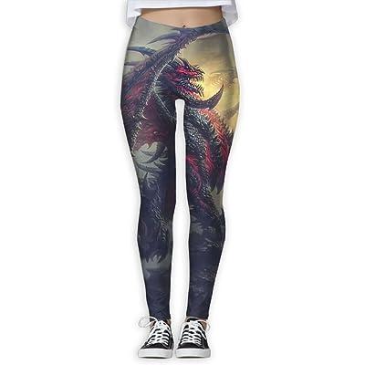 XDDFRTFF Women's Full-Length Yoga Pants 3D Printed Evil Dragon Workout Leggings
