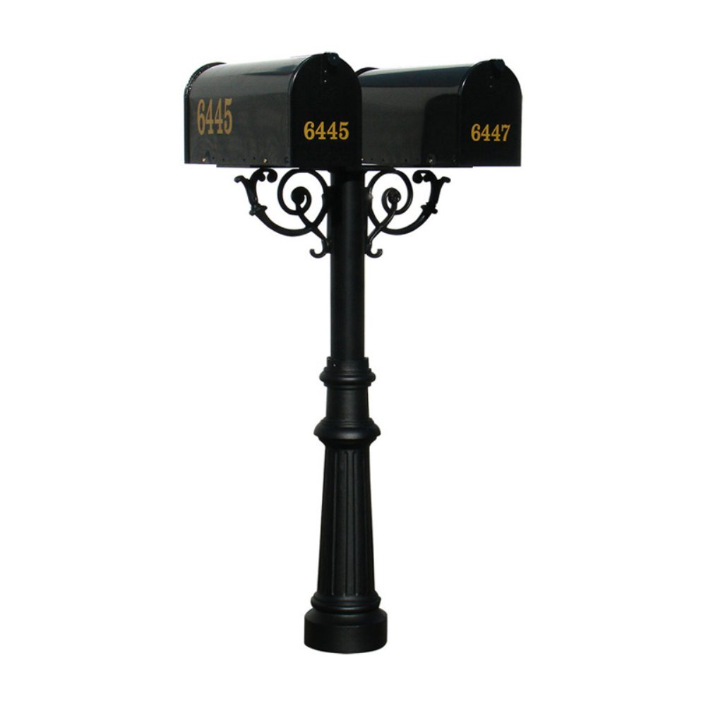 The Hanford Cast Aluminum Twin Mailbox Post System with Fluted Base, 2 E1 Mailboxes, Mounting Brackets and Scroll Supports, Ships in 2 boxes