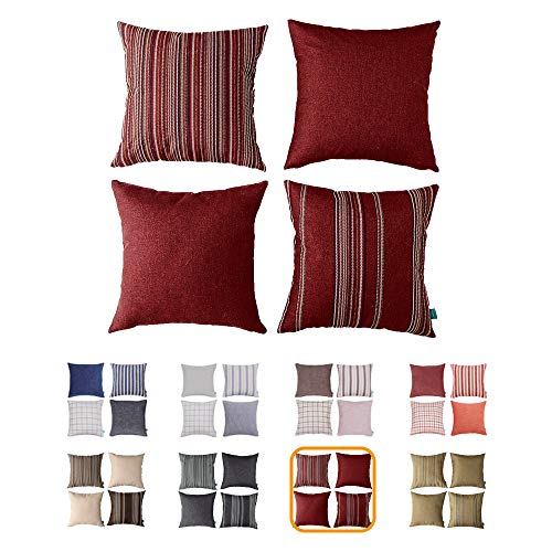 Home Plus Cushion, Cushion Cover, 18X18 Throw Pillow Covers, RED Deco Pillow, Four Cushions PER Set Woven Check Multi Pattern Story, Woven Stripes, Wool Look 4 Pack RED