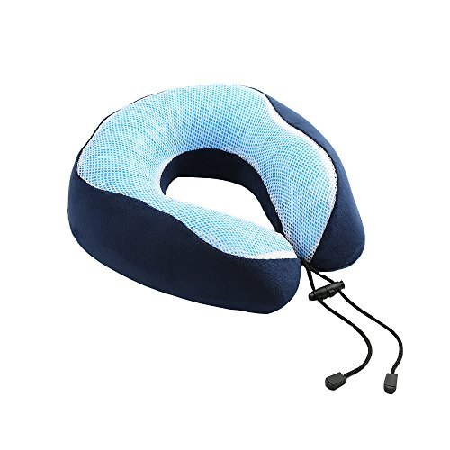 Harlov Travel Pillow with Memory Foam and Cooling Gel; Provides Optimum Neck Support During Travel, Sitting or Sleeping; Covered in a Soft Two-Toned Blue Fabric; The Ultimate Travel Pillow by Harlov
