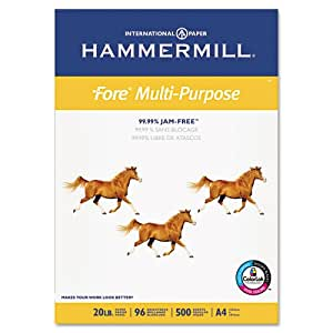 """Hammermill Paper, Fore MP, 20lb, 210mm x 297mm (8-3/10"""" x 11-7/10), A4, Bright, 500 Sheets / 1 Ream (103036), Made in the USA"""