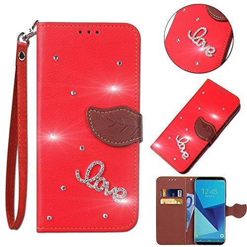 Leecase Bling Diamond Sparkle Glitter 3D PU Leather Bookstyle Magnetic Closure Wallet Flip Cover Creative Love Rhinestone Leaf Pattern for Samsung Galaxy S5-Red by Leeook