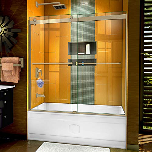 - DreamLine Sapphire 56-60 in. W x 60 in. H Semi-Frameless Bypass Tub Door in Brushed Nickel, SHDR-6360602-04