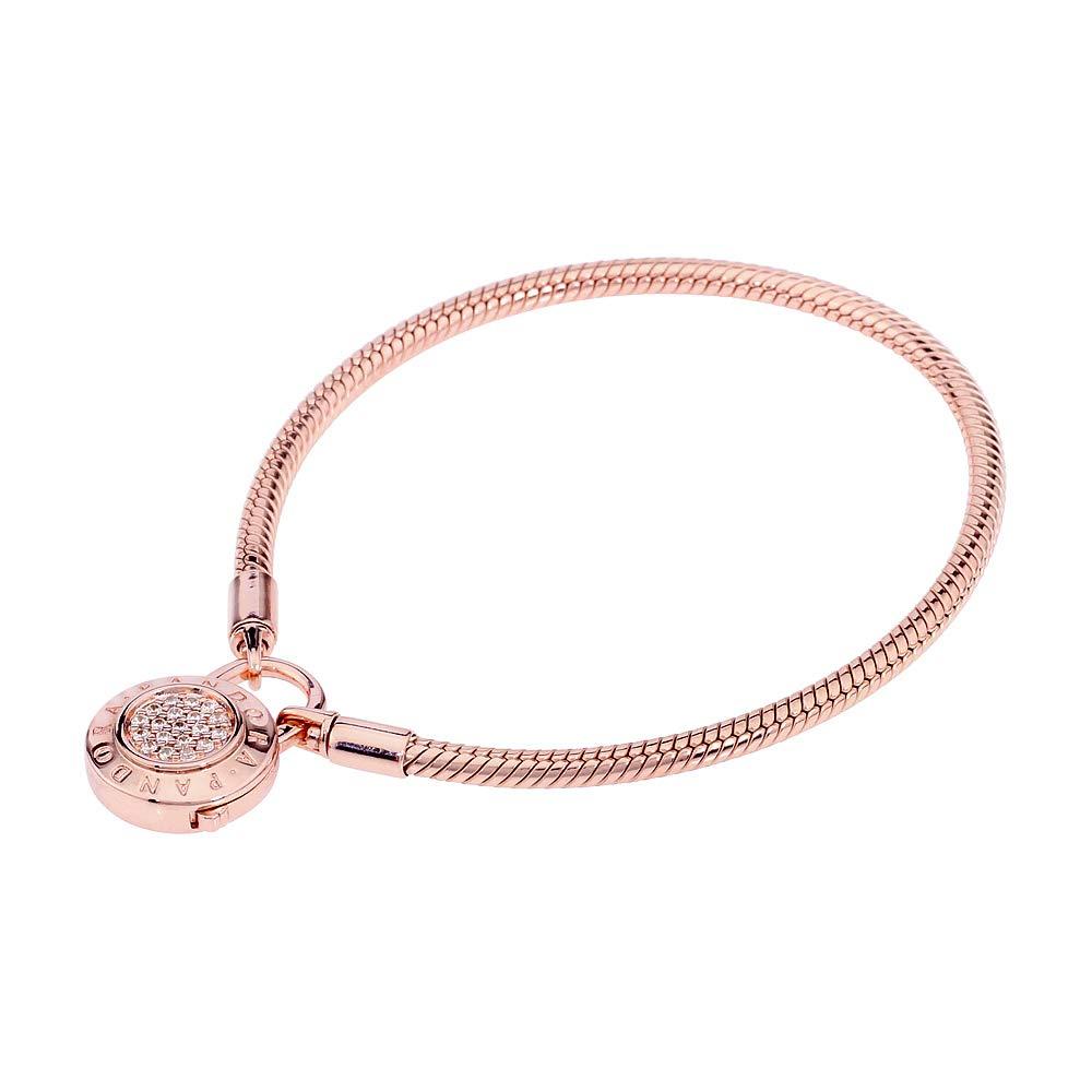 Pandora Rose Smooth Signature Padlock Bracelet 587757CZ-19 by PANDORA