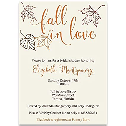Autumn Bridal Shower Invitations Fall Fall In Love Leaves Wedding Falling Maple Rustic Orange Red Cranberry Personalized Custom 10