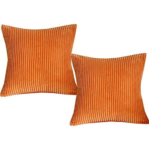 Set Palm Sunday (Sunday Praise Set of 2 Solid Décor Pillow Cases Plush Corduroy Striped Square Throw Cushion Covers Office Farmhouse Patio 18-inch(45cm),Orange)