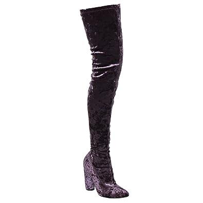 28e88e818e60d Cape Robbin Paw-27 Crushed Velvet Stretchy Pointy Toe Thigh High Over Knee  Block Heel