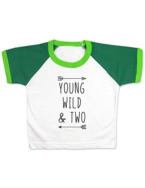 17b8550c Amazon.com: cute & funny Young Wild & Two - Cool Boho Birthday Shirt 2nd  Age 2 Two Year Old - Raglan Color Block Girls T-Shirt: Clothing