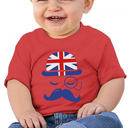 Vintage English Gentleman Sir Boss With Moustache 6-24 months baby T-shirt red-12 - Halloween Do Wear For What Nerds