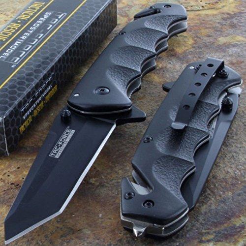 Tac-Force Black TANTO BLADE Spring Assisted Tactical Folding Pocket Knife New!!! (Folding Pocket Knife Black Blade)