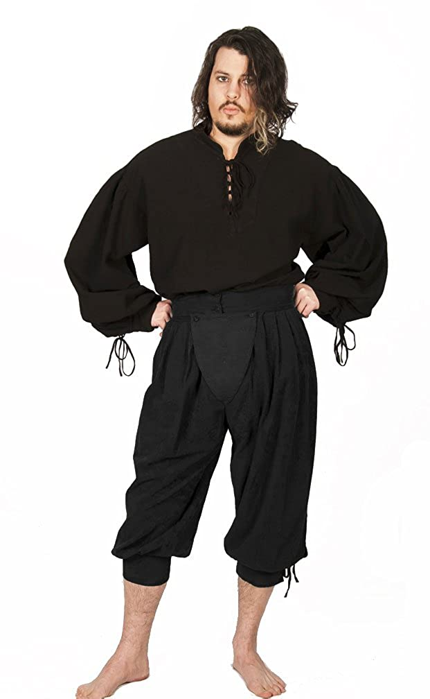 Deluxe Adult Costumes - Historically accurate pirate black cotton button cod slops trewes breeches by Dress Like A Pirate