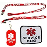 Service Dog Leash with Free Kit - Receive 3 Free Service Dog Bonuses Including: Free Service Dog Collar Tag, Lanyard, and Patch. Medium to Large Size Dog.