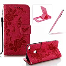 Strap Case for Huawei P8 Lite 2017,Flip Wallet Leather Cover for Huawei P8 Lite 2017,Herzzer Premium Pretty Elegant [Hot Pink Butterfly Flower Design] PU Leather Fold Stand Card Holders Smart Case Cover for Huawei P8 Lite 2017 + 1 x Free Pink Cellphone Kickstand + 1 x Free Pink Stylus Pen