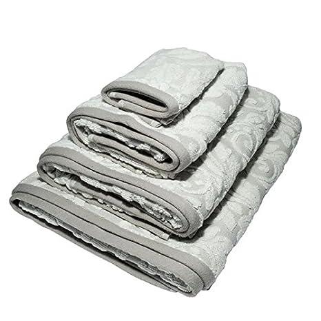 Bellissimo - Blenheim Jacquard - Set de 4 toallas de hotel - 100 % algodón turco - Beige: Amazon.es: Hogar