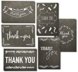 Juvale Thank You Cards - 48-Count Thank You Notes, Bulk Greeting Cards Set - Blank on the Inside, Black and White Chalkboard Design - Includes Thank You Cards and Envelopes, 4 x 6 Inches