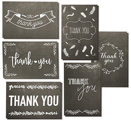 Thank You Cards - 144-Pack Thank You Notes, 6 Assorted Black and White Chalkboard Designs, Bulk Thank You Cards and Envelopes, 4 x 6 Inches