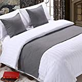 YIH Bed Runner Grey 3 Pcs Set, Luxury Bedding Scarf Pad Decorative Table Runner Bed Protector Slip Cover for Pets, 1 Bed Runner + 2 Cushion Cover, 82 Inches by 19 Inches