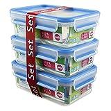 Emsa 3-teiliges Frischhaltedosenseit mit Deckel, 1,00 Liter, Transparent/Blau, Clip & Close, 508558