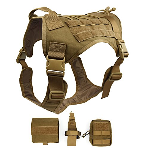 Ultrafun Tactical Dog Harness with Patches Pouches Handle, Molle Vest for Dogs (CB, L) (Harness Tactical Molle)