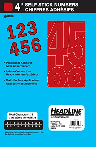 Headline Sign 32433 Stick-On Vinyl Numbers, Red, 4-Inch (Vinyl Red Numbers)