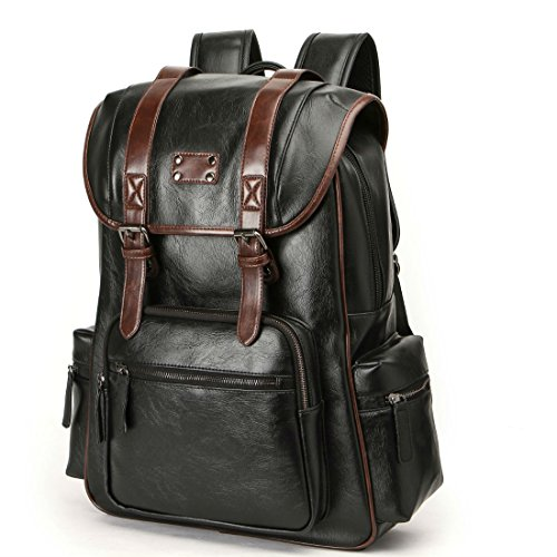 Bag,handbags,shoulder bags Laptop backpack schoolbags travel bags knapsack bookbags Luggage packsack for men,boys,and large capacity pu leather black (black-3)