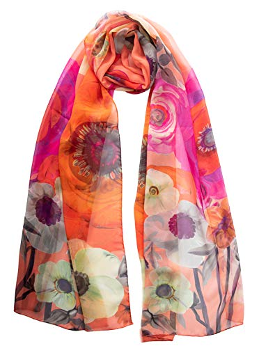 Elizabetta Silk Long Scarf - Coral Red Floral - Georgette Chiffon