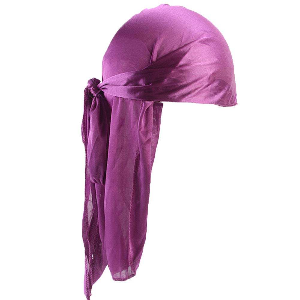 Unisex Polyester Turban Cap Silky Durag Long-Tail Wide Straps Headwraps Smooth Dome Pirate Cap Solid Color Head Wrap for Women Men