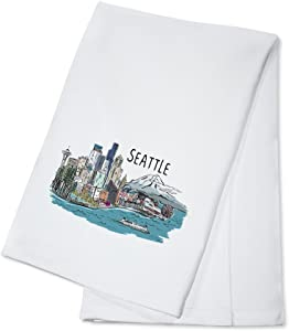 Seattle, Washington - Seattle Cityscape - Line Drawing (100% Cotton Kitchen Towel)