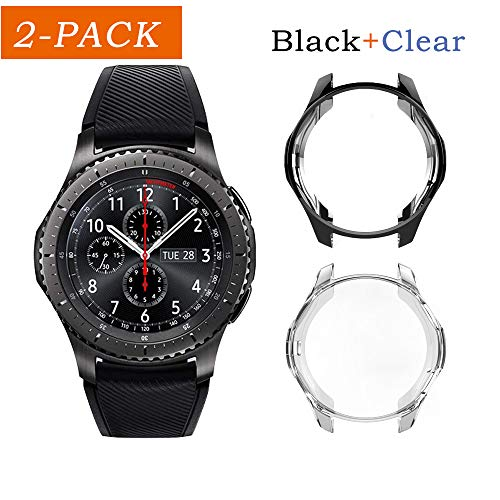 Uborui TPU Scractch-Resist Cover Protective Bumper Shell Protective Band for Samsung Gear S3 Frontier SM-R760 Case/Samsung Galaxy SM-R800 Watch Case 46mm,Black+Clear