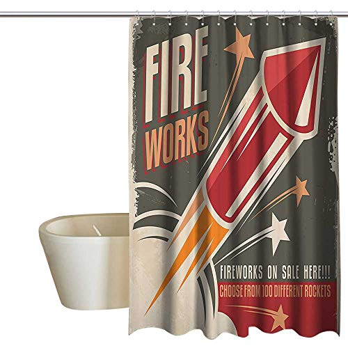 (Suchashome Vintage Decor Collection Shower stall Curtains Retro Fireworks in Vintage Paper with Stars Rockets Western Halloween Illustration Cool Shower Curtain W48 x L72 Gray)