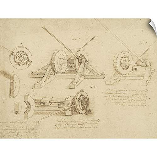 - CANVAS ON DEMAND Leonardo da Vinci Wall Peel Wall Art Print Entitled Winch, Great Spring Catapult and Ladder from Atlantic Codex 36