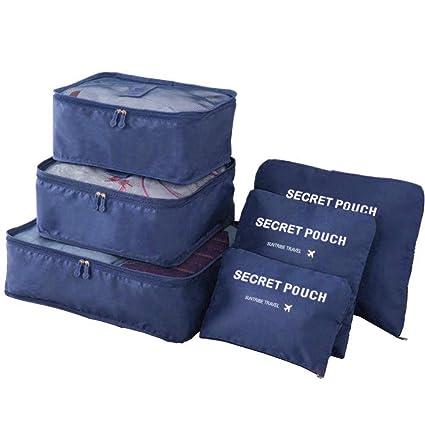 6PCS Packing Cubes - Bolsa de Almacenamiento de Viaje Phogary Organizador Equipaje Compresión Bolsas Value Set Maleta pequeña Mediana, Azul Oscuro