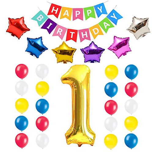 1st Birthday Banner Balloon Kit, One Year Old Baby Happy Bday Wall Decoration with Colorful Five-point Star Balloons Set, Boy Girl Party Supplies by (1st Bday Party Themes)